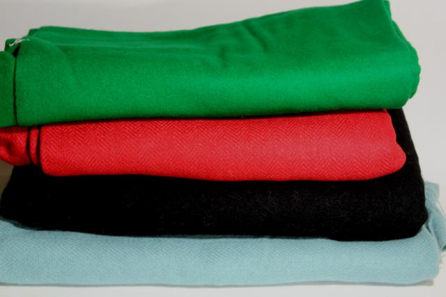 vintage wool fabric for sewing, rug making - red, green, black, aqua solid colors