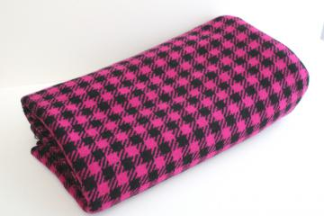 vintage wool fabric, large scale houndstooth weave in magenta pink & black