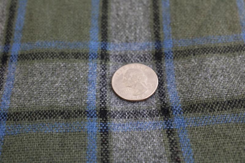 vintage wool fabric, plaid in grey green blue black, heavy work shirt material