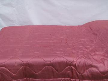 vintage wool filled rose-pink/blue quilted taffeta comforter duvet