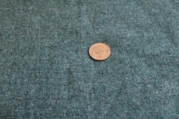 vintage wool flannel fabric for crafts or rugs, jade green grey heather color
