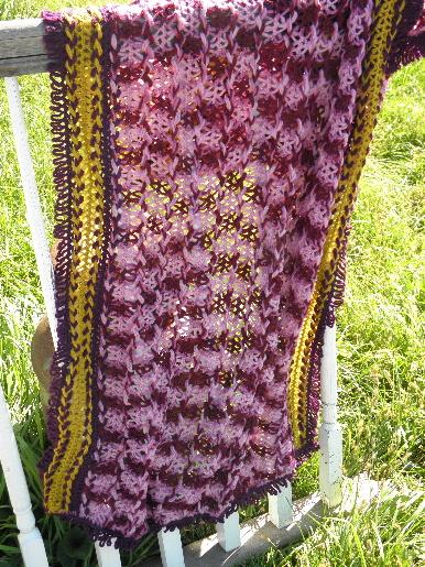 vintage wool hairpin lace throw or stole, shades of plum and amber gold