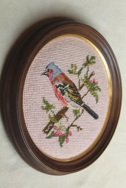 vintage wool needlepoint pictures, framed embroidery birds on blush pink in round wood frames