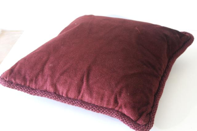 vintage wool needlepoint tapestry cushion, burgundy wine floral throw pillow feather filled