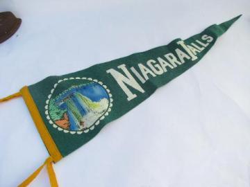 vintage wool pennant flag, Niagara Falls vacation souvenir, summer cabin camp
