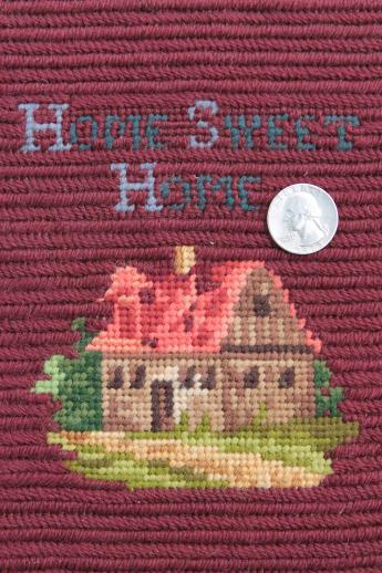 vintage wool petit point needlepoint Home Sweet Home motto ...