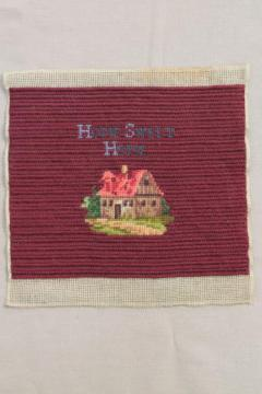 vintage wool petit point needlepoint Home Sweet Home motto picture w/ cottage