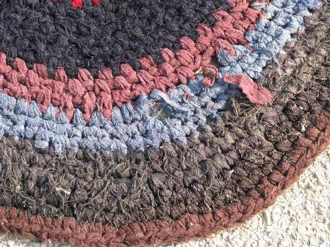 vintage wool rag rug, old crochet round throw rug, rich dark colors