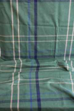 vintage wool / rayon blend fabric, preppy plaid green w/ blue, navy, cream