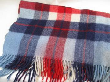 vintage wool throw, camp blanket plaid in red / blue / white