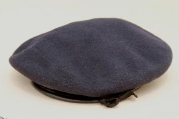 vintage wool uniform beret, Air Force blue men's beret, hat size 7 1/4