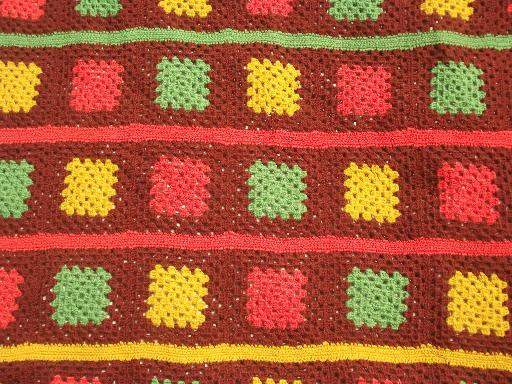 vintage wool yarn granny squares crochet afghan in warm harvest colors