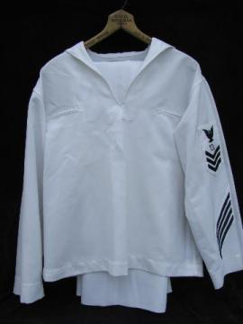 vintage work white Navy jumper uniform, size 44R, Operations Specialist patch