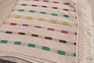 vintage woven cotton coverlet, fringed bedspread striped Hudson Bay camp blanket colors