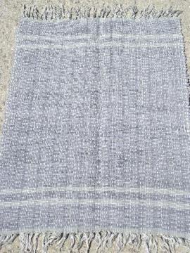 vintage woven cotton denim rag rug, worn old indigo blue jeans fabric