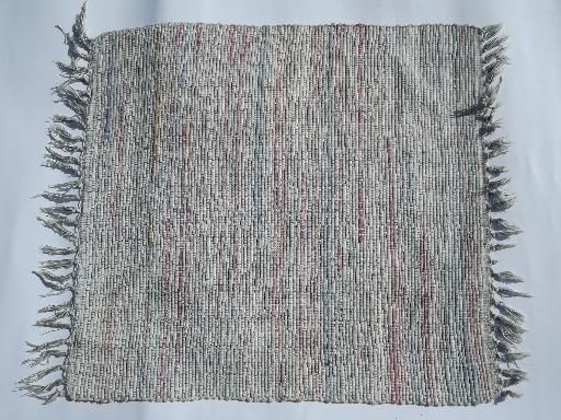 vintage woven cotton rag rug, old farmhouse throw rug ...