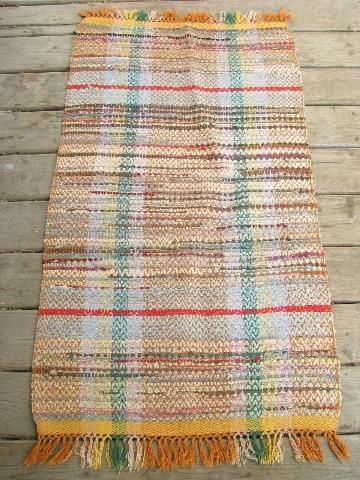 Vintage Woven Cotton Rag Rug, Old Kitchen / Porch Runner, Orange Shades