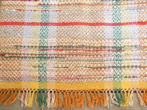 vintage woven cotton rag rug, old kitchen / porch runner ...