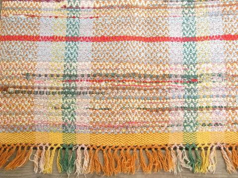 Vintage Woven Cotton Rag Rug Old