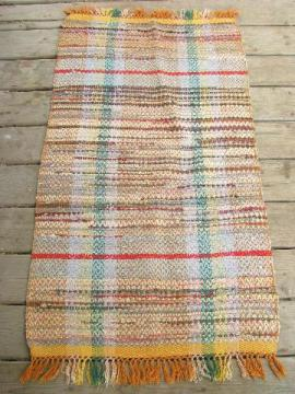 vintage woven cotton rag rug, old kitchen / porch runner, orange shades