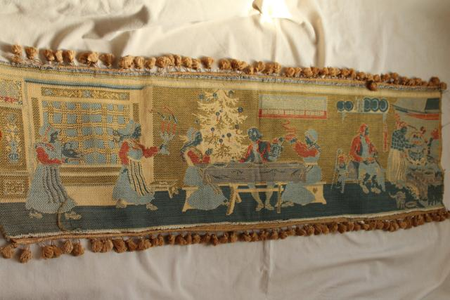 vintage woven tapestry wall hanging w/ old Christmas scene, Germany or Scandinavia?