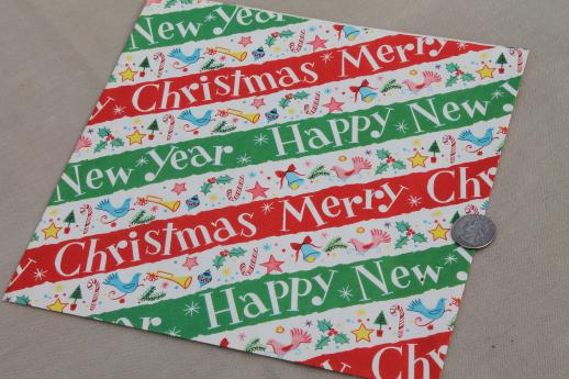 vintage wrapping paper gift wrap sheets, retro holiday theme print art for crafting or graphics