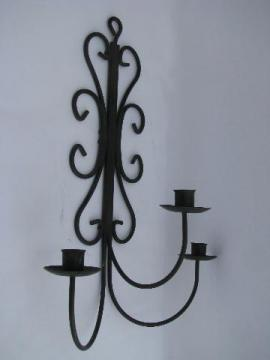 vintage wrought iron scrollwork candle sconce, wall mount candelabra