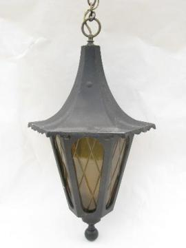 vintage wrought iron style hanging pendant lantern porch light, outdoor lamp