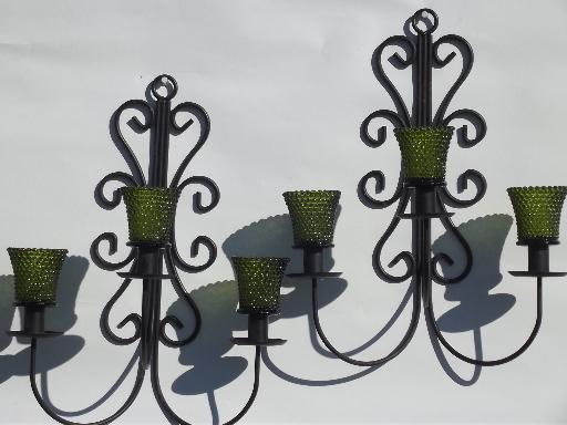 vintage wrought iron wall sconces, hanging chandelier candle holders
