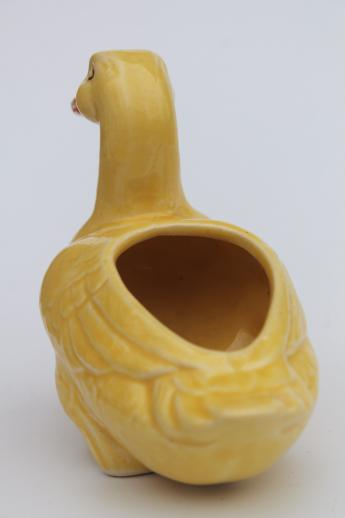 vintage yellow duck pottery planter, cute ceramic flower pot for spring flowers