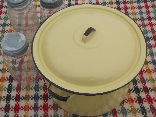 vintage yellow enamelware canner / stock pot for hot water home canning