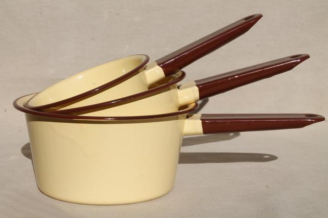 vintage yellow enamelware saucepans, never used enamel ...