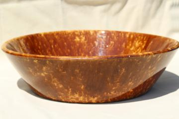 vintage yellow ware brown spongeware milk pan, antique Bennington Rockingham glaze pottery