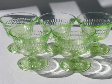 vintage yellow-green vaseline glass dishes, sherbets / ice cream glasses