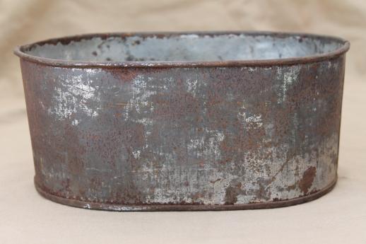 Vintage Zinc Planter Bucket Old Rusty Crusty Primitive