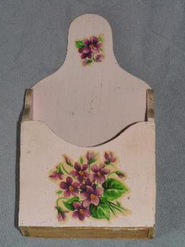 violets wood wall bracket pocket, vintage pink paint