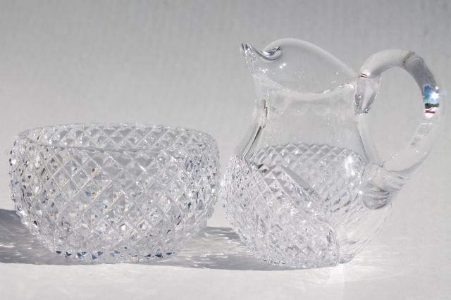 Popular waffle diamond block cut crystal cream pitcher & sugar bowl set  IS35