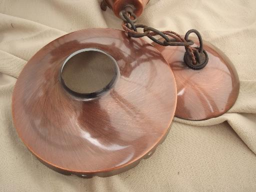 wagon wheel hanging lamp, retro vintage ceiling light w/ copper shades