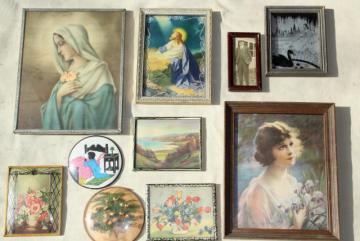 wall art collection 1930s vintage framed prints, bubble glass silhouettes, religious pictures