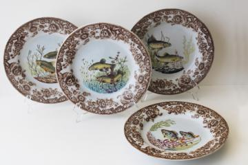 wall art set vintage ironstone fish plates, transferware china w/ painted details