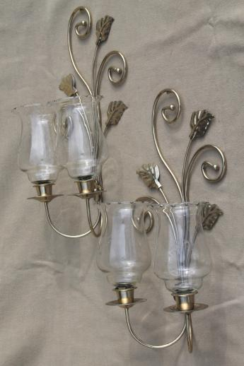wall mount candle sconces gold metal candle holder brackets w etched glass hurricane shades