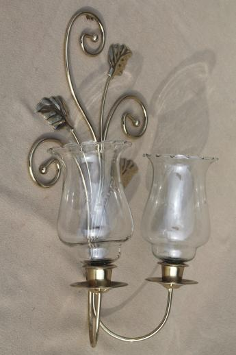 Gold Metal Wall Mounted Leaf Candle Holder