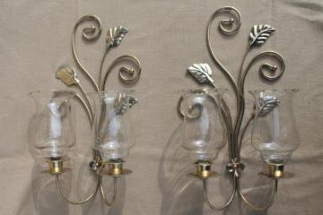 wall mount candle sconces, gold metal candle holder brackets w/ etched glass hurricane shades