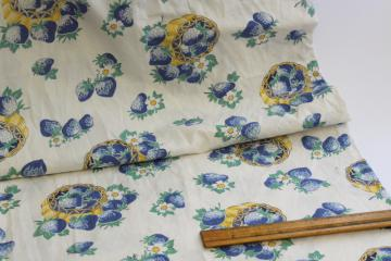 washed vintage cotton fabric, blue yellow strawberries print 1950s retro!