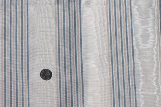 watered moire bengaline fabric, creamy ivory w/ stripe in french ...