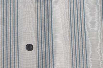 watered moire bengaline fabric, creamy ivory w/ stripe in french blue & buff
