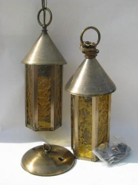 weathered solid brass / amber glass lantern hanging pendant light fixtures