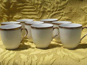 wedding band copper trim, antique Germany white china demitasse cups