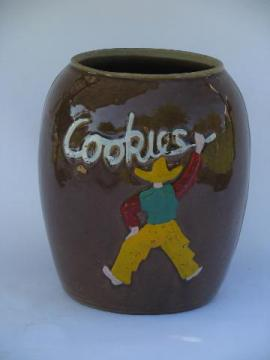 western cowboy, vintage hand-painted stoneware pottery, old crock cookie jar