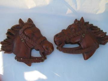 western horses, vintage chalkware wall hangers pair
